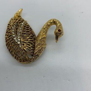 Vintage Gold-Tone Swan Brooch Rhinestones Red Eye